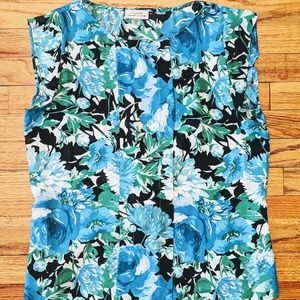 Tahari ASL Pleat Front Floral Blouse